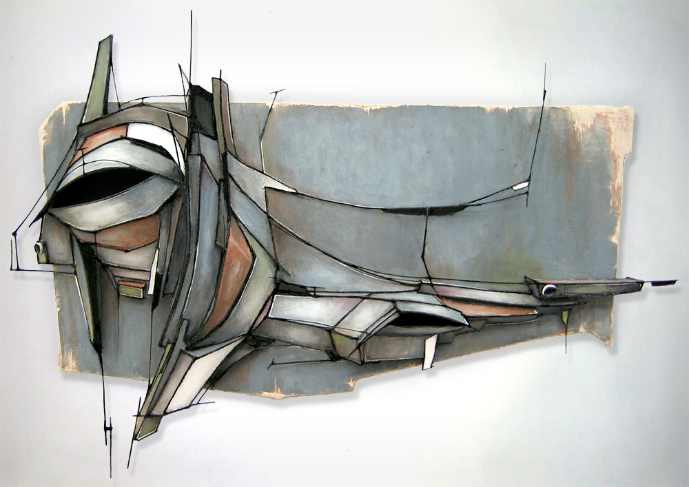 "UNRUH  | ARCHIVAL BOARD & WIRE RELIEF, ACRYLIC ON WOOD | 36"" X 51"" X 10"""