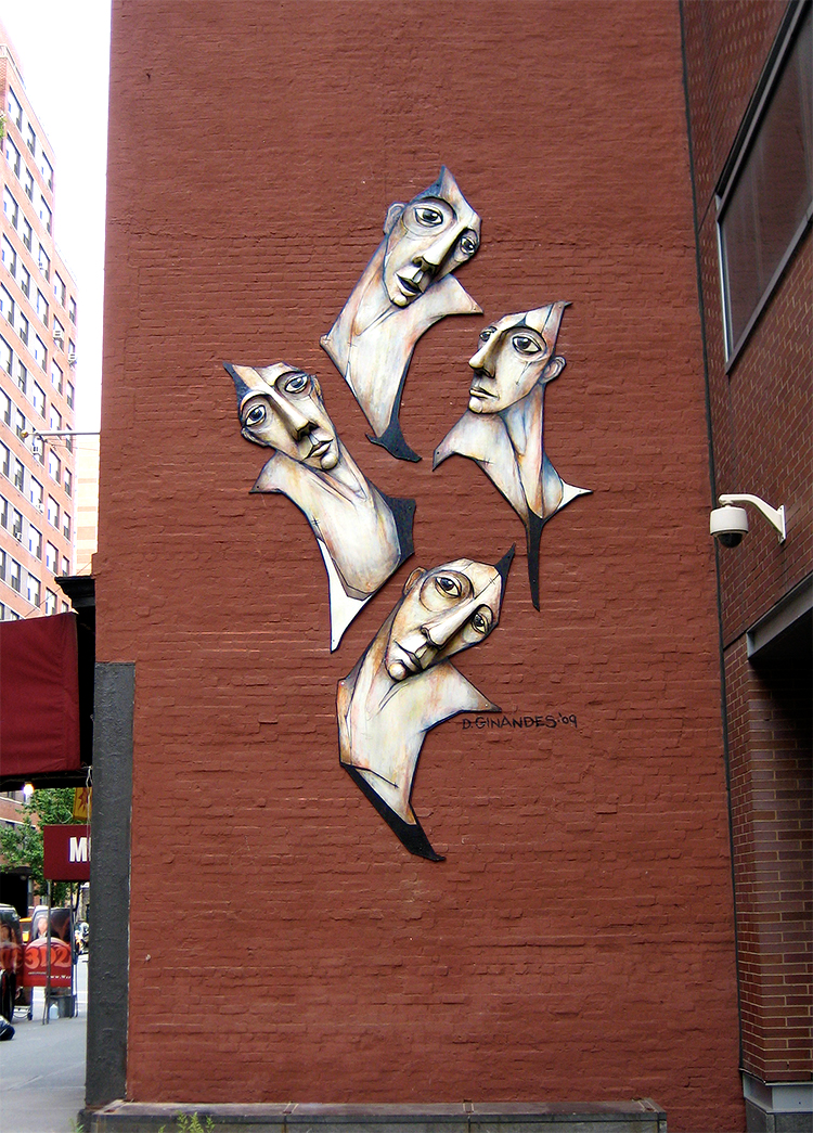 ASCENDANTS | CARLTON ARMS HOTEL, NEW YORK CITY | CONCRETE RELIEF, ACRYLIC ON WOOD | 18' X 8.5' X 1.5'