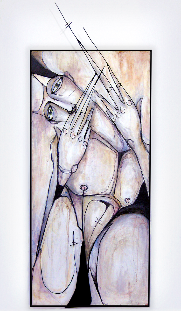 "WAITING GUARD  | WIRE & METAL RELIEF, ACRYLIC ON WOOD | 56"" X 22"""