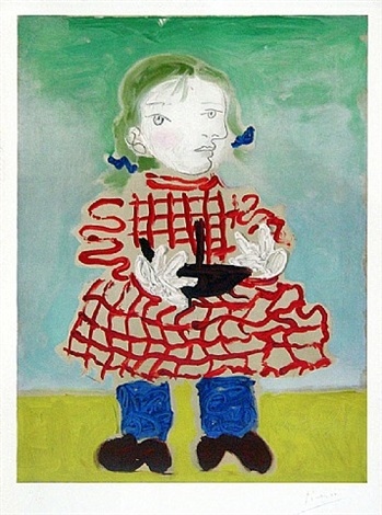 Maya in a Pinafore,ca.1965     Medium: Prints and Multiples, Lithograph in colors on Arches paper   Size Notes: 28 3/4 in x 21 in (73 cm x 53.3 cm) image size 34 1/4 in x 24 in (87 cm x 61 cm) sheet size   Description: Edition printed by l'atelier Mourlot - Paris Based on an original oil work dating to 1938, this original color lithograph is dated in the stone: '27.2.38'. This work is hand signed by Pablo Picasso in pencil in the lower right margin.