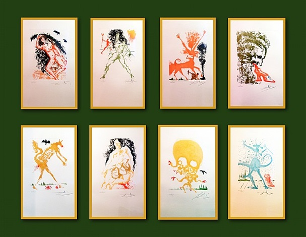 The Eight deadly Sins, 1966    Medium: Eight color-printed etchings with sugar-lift aquatint on Rives paper  Edition: 23/125  Size:  Each sheet: 14 x 9 in. (35,5 x 22,8 cm.)  Description: Top row (from left to right):  1- Sloth (La Paresse)  2- Lust (La Luxure)  3- Wrath (La Colere)  4- Gluttony (La Gourmandise)  Bottom row (from left to right): 5- Pride (L'orgueil)  6- Greed (L'avarice)  7- Envy (L'envie)  8- The Dalinian Sin (Le Peche Dalinien)  Markings: Each pencil signed and numbered in the lower margin  Provenance: Private collection of Albert Field, this set of eight original aquatints, was published by Jean Schneider (Basel, Switzerland).
