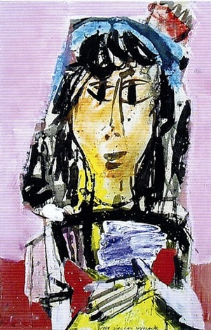 Mexican girl,1969    Medium: Acrylic and tempera on paper  Size: 32 x 22 in. (81.3 x 55.9 cm.)  Markings:Signed and dated on the lower right side