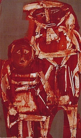 Two mexican figures,1963    Medium:Acrylic and tempera on paper  Size:40 x 24 in. (101.6 x 61 cm.)  Markings:Signed and dated on the lowerleft side