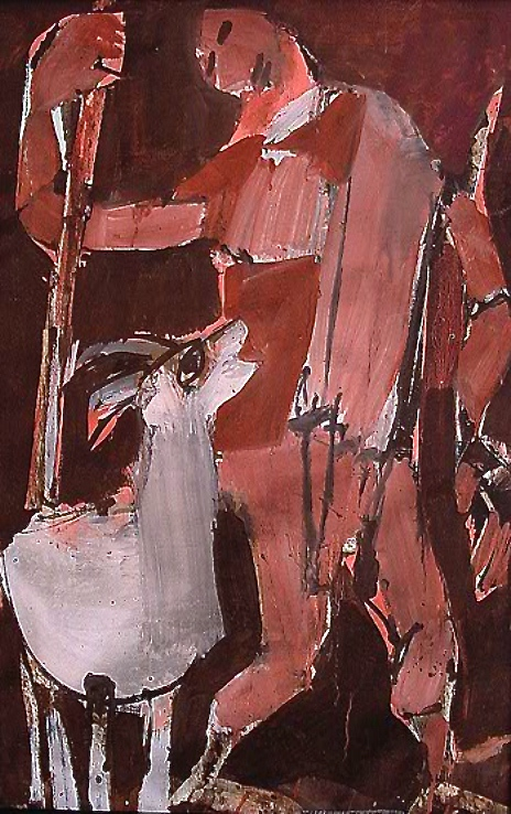 Mexican Shepherd and Goat, 1967    Medium: Acrylic and tempera on paper  Size: 40 x 26 in. (101,6 x 66 cm.)  Markings:Signed and dated on the lower right side