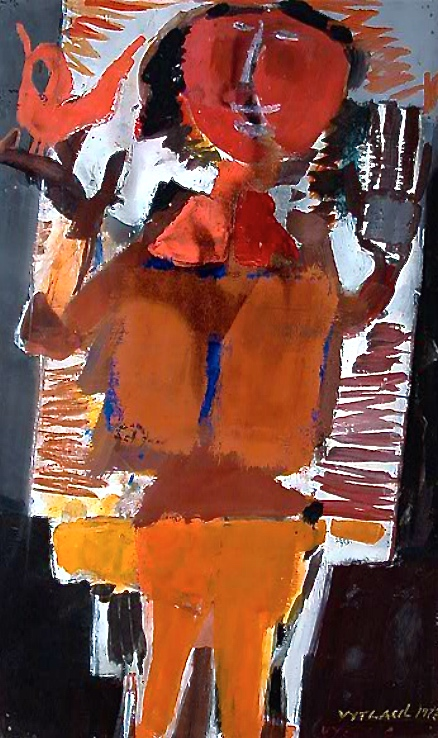 Boy with Bird, 1972    Medium: Acrylic and tempera on paper  Size: 40 x 24 in. (101,6 x 61 cm.)  Markings:Signed and dated on the lower right side