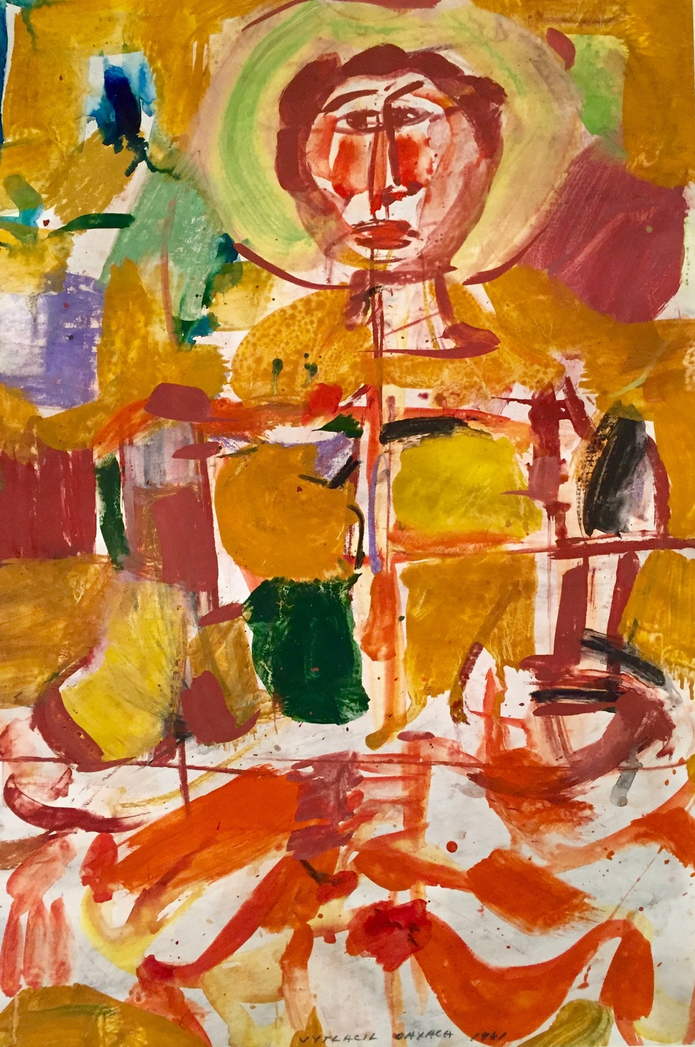 A mexican figure,1961    Medium: Paintings, Acrylic and tempera on paper   Size: 34 x 23 in. (86.4 x 58.4 cm.)  Markings: Signed and dated in the lower center
