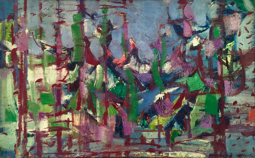 Rocky Mountains, 1964   Medium: Paintings, oil on board  Size: 29 x 46 in. (73.7 x 116.8 cm.)  Markings: signed and dated in the lower right