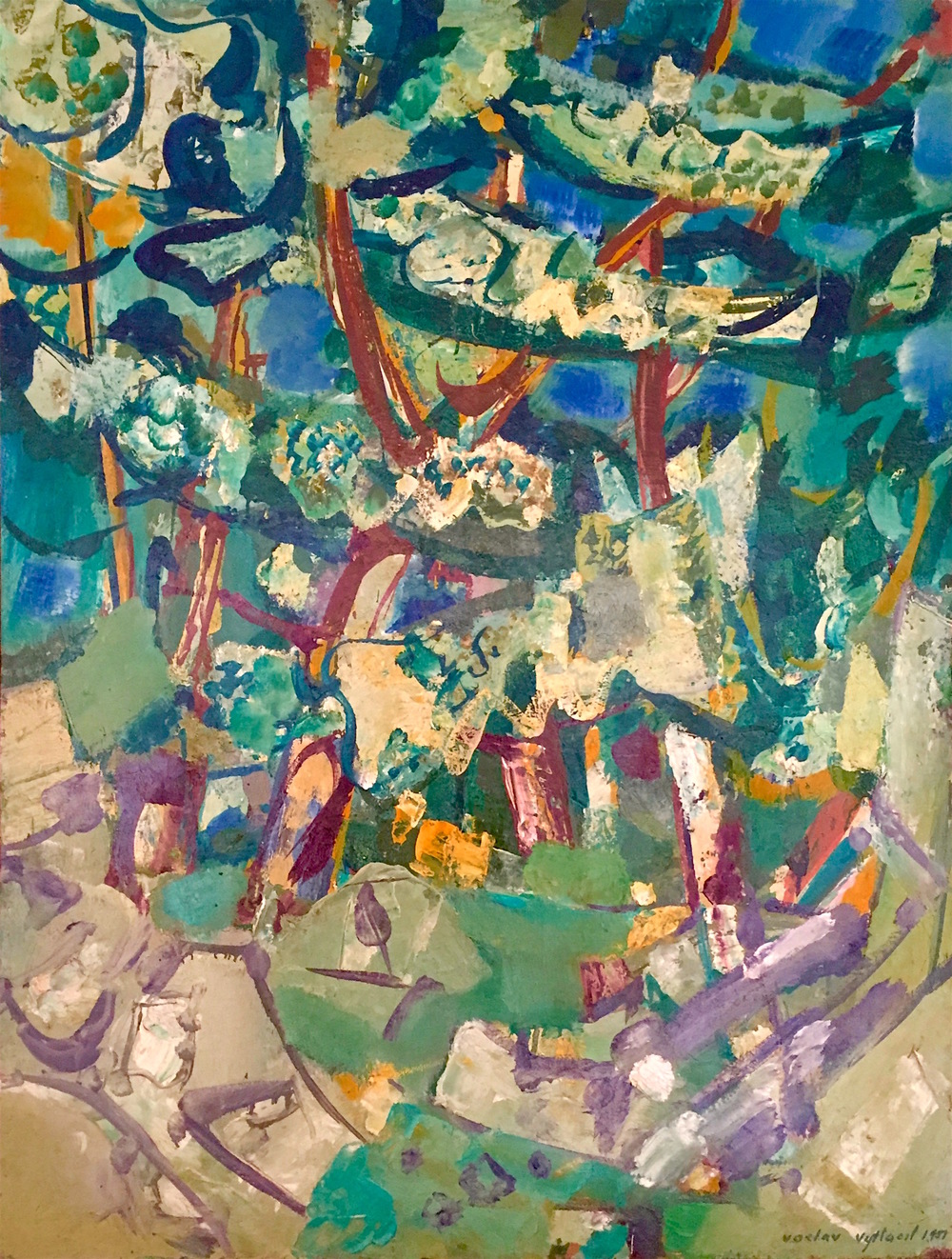 The woods in the summer, 1951   Medium: Paintings, Oil on canvas  Size: 45.5 x 35 in. (115.6 x 88.9 cm.)  Markings: Signed and dated in the lower righ