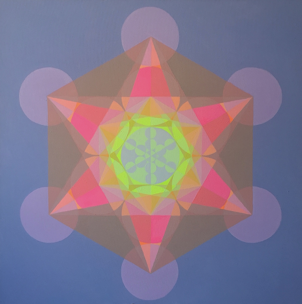 "Light Merkaba, 2015, 40"" x 40"", acrylic on canvas"