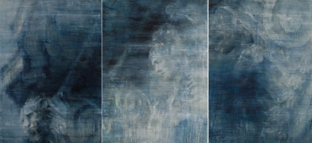 Gazing, triptych, 41x90 inches, SOLD