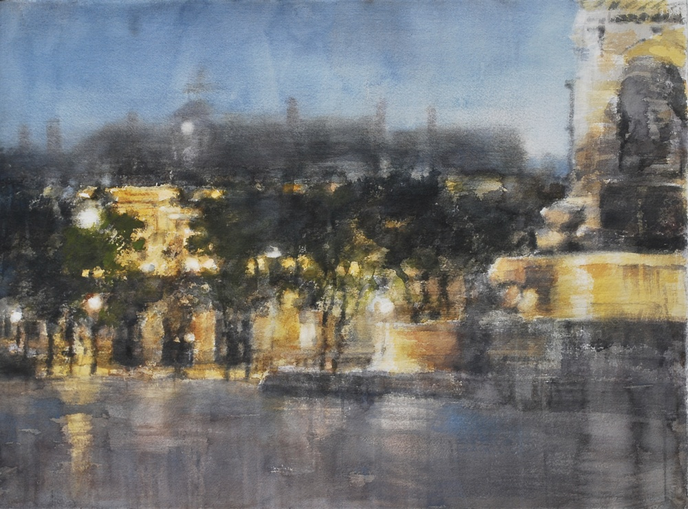 Fountain of Saint-Sulpice, 30x22 inches, SOLD