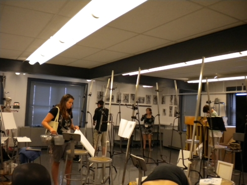 View of a studio classroom in VCU's Communication Arts building.