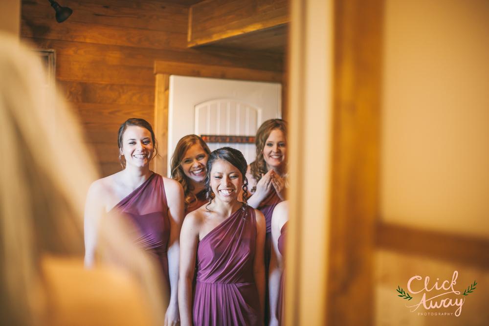 bridesmaids reacting to bride's dress