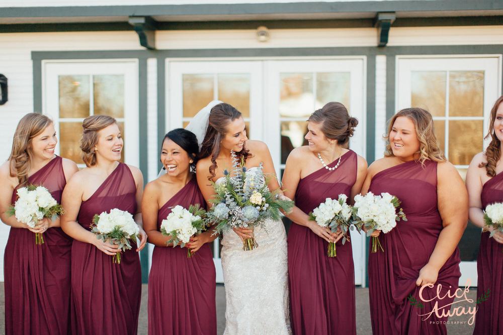 bride with bridesmaids dress idea