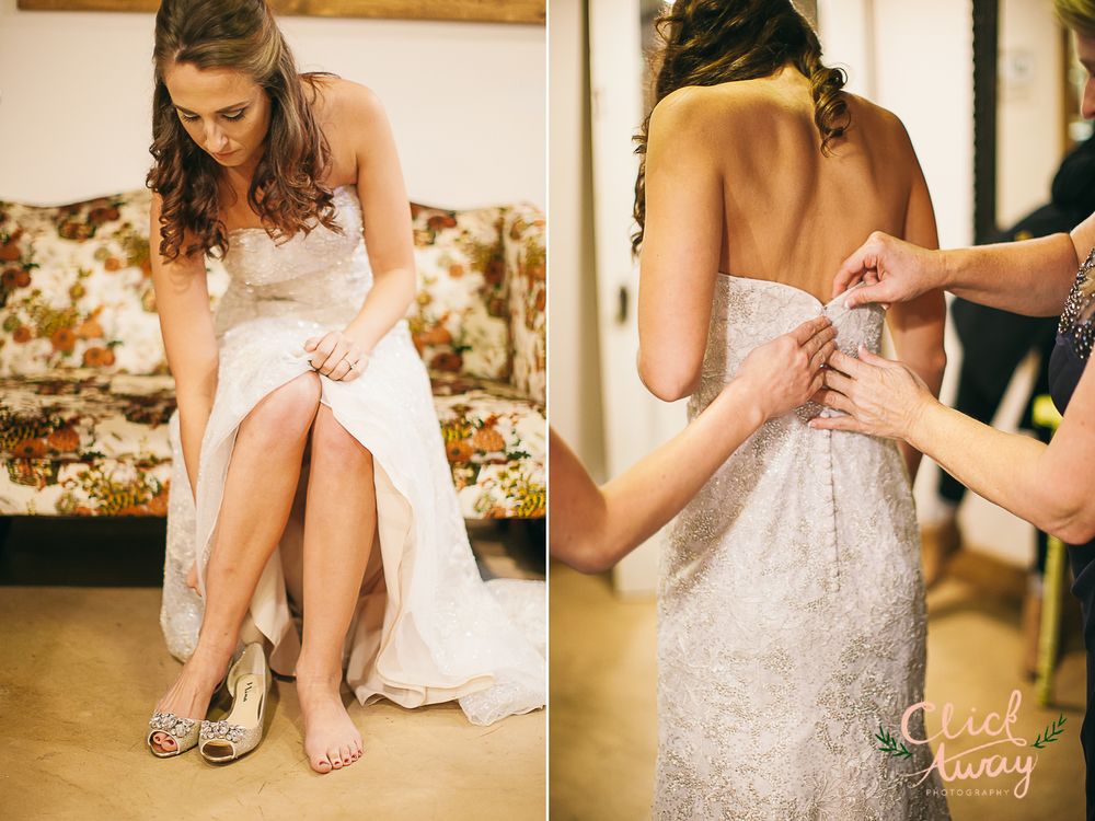 bride putting shoes on and getting dress on