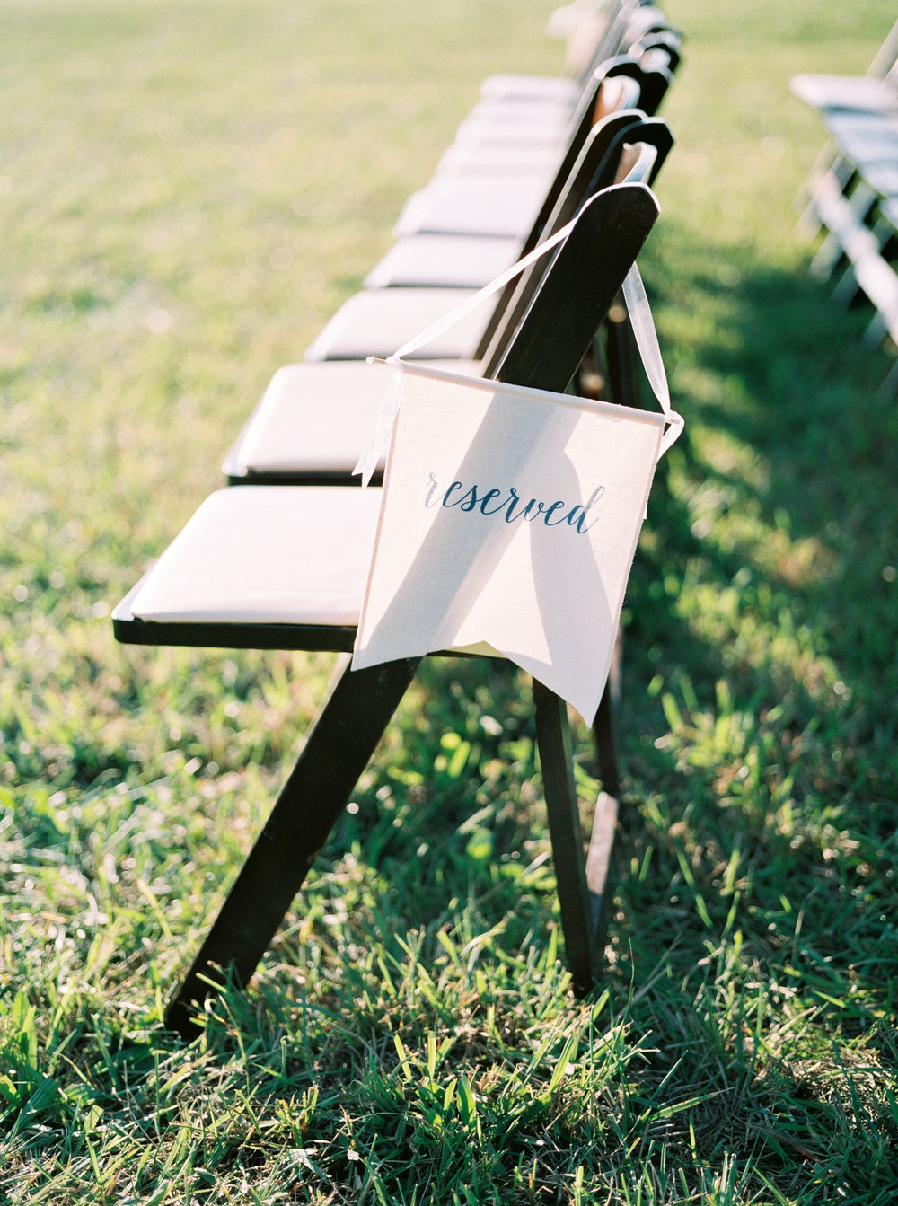 reserved sign in wedding ceremony space