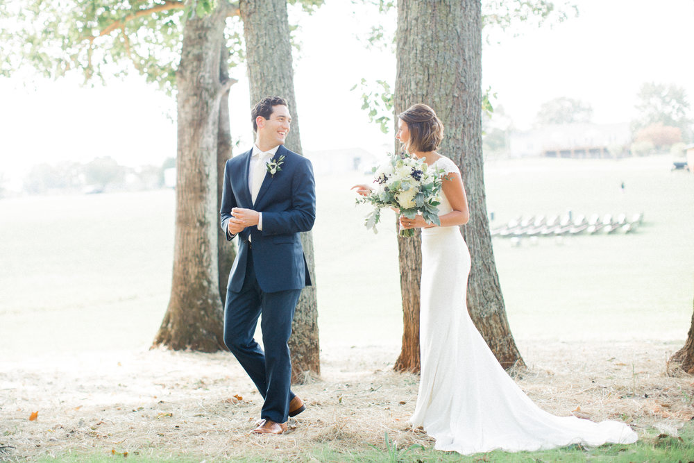 First look farmhouse wedding