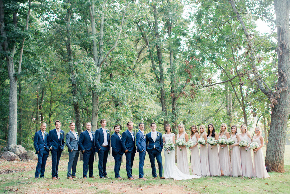 Bridal party in farmhouse wedding