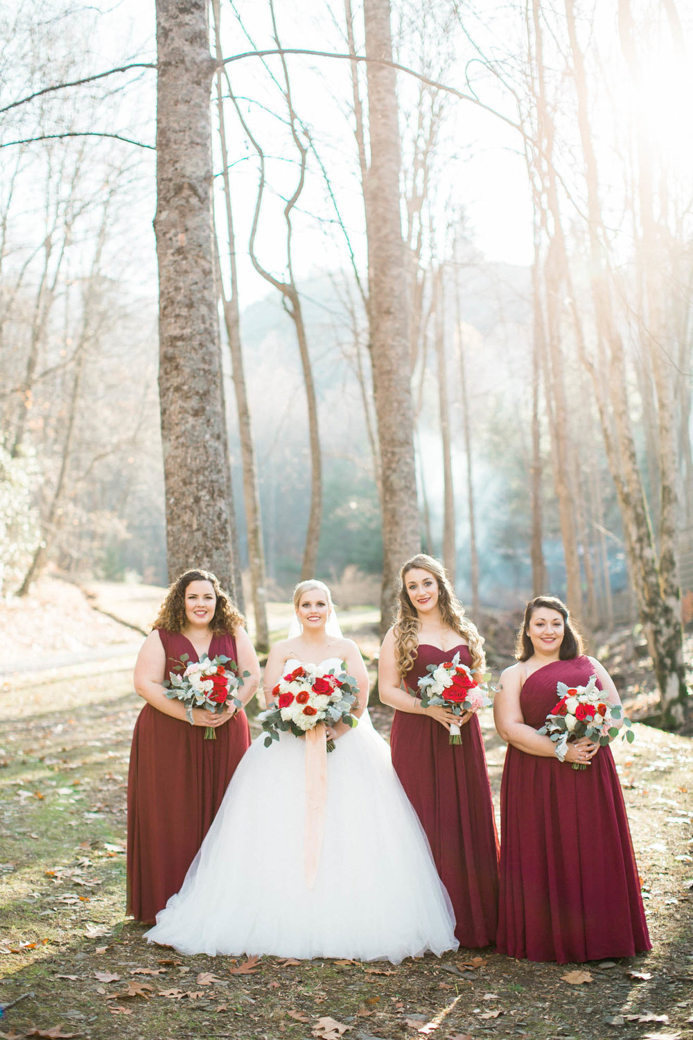 Bridesmaids and bride mountain wedding Andrews, NC Charlotte Photographer