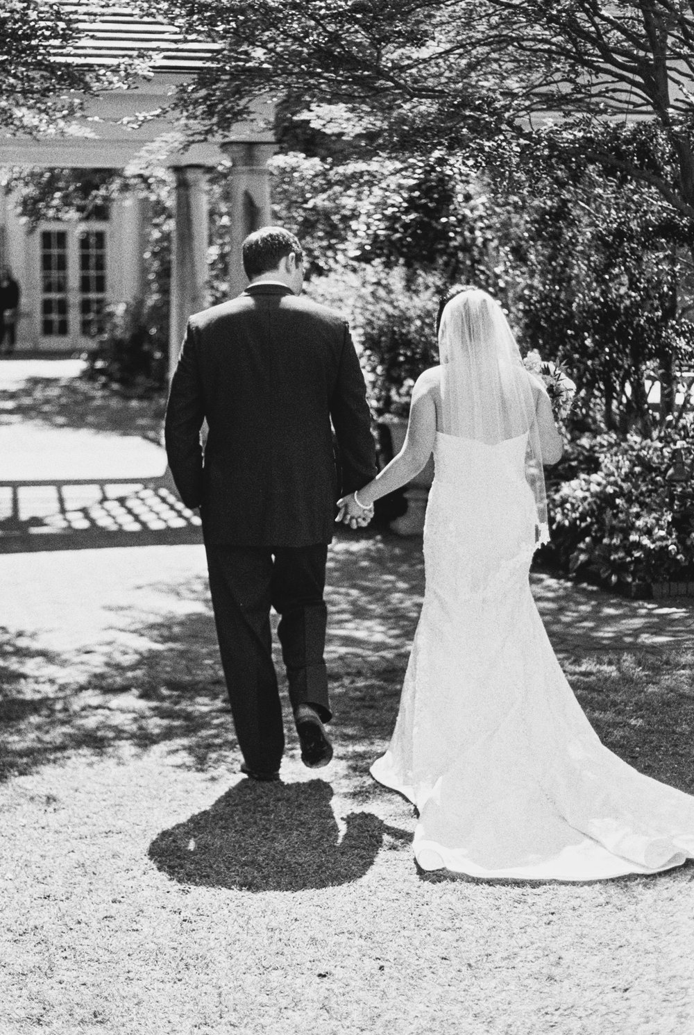 bride and groom photography on black and white film