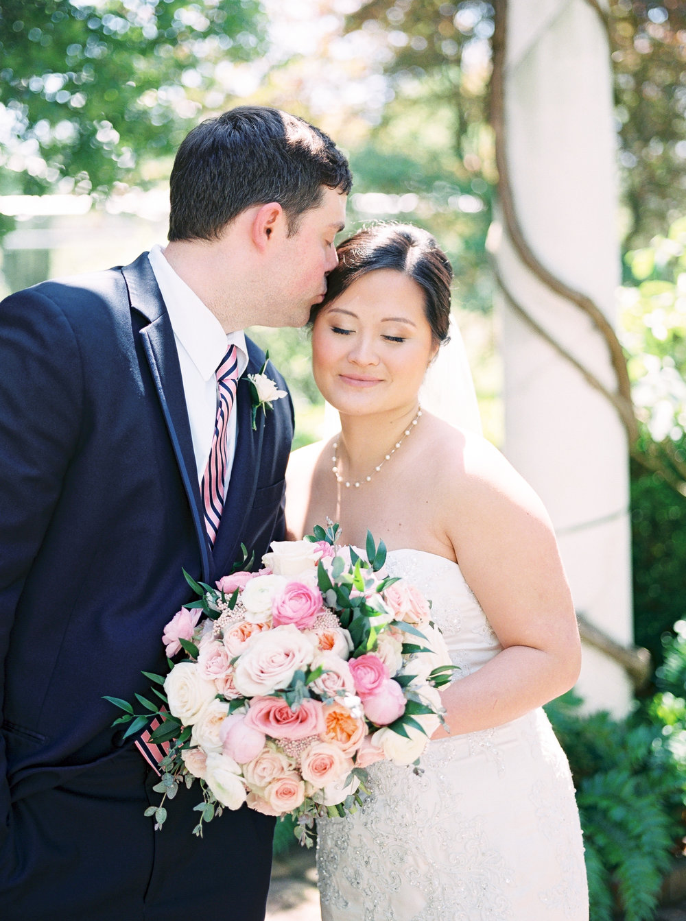 bride and groom at daniel stowe botanical gardens