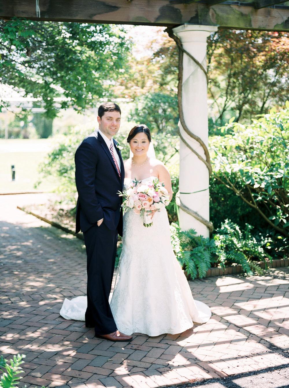 bride and groom on fuji400