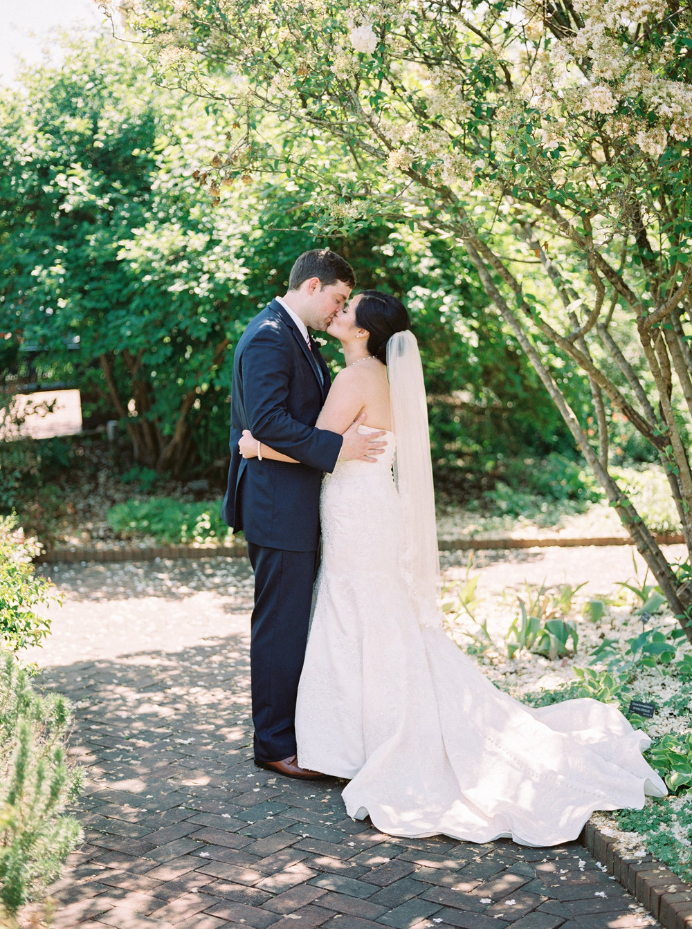 bride and groom at daniel stowe botanical gardens on film