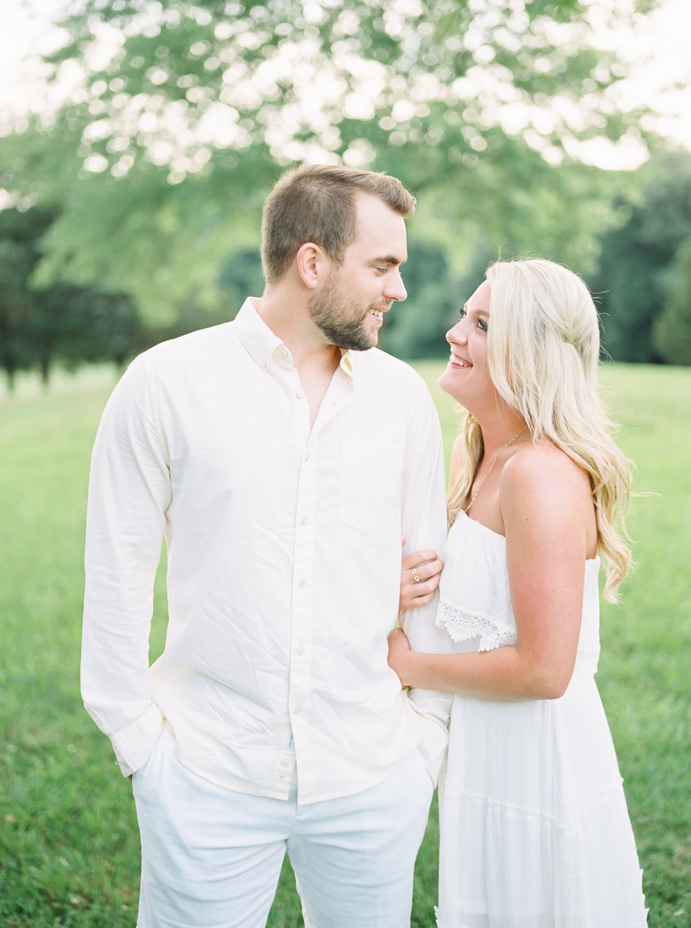 engagement session all white outfits