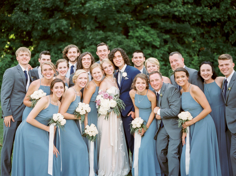 blue wedding colors, bridal party