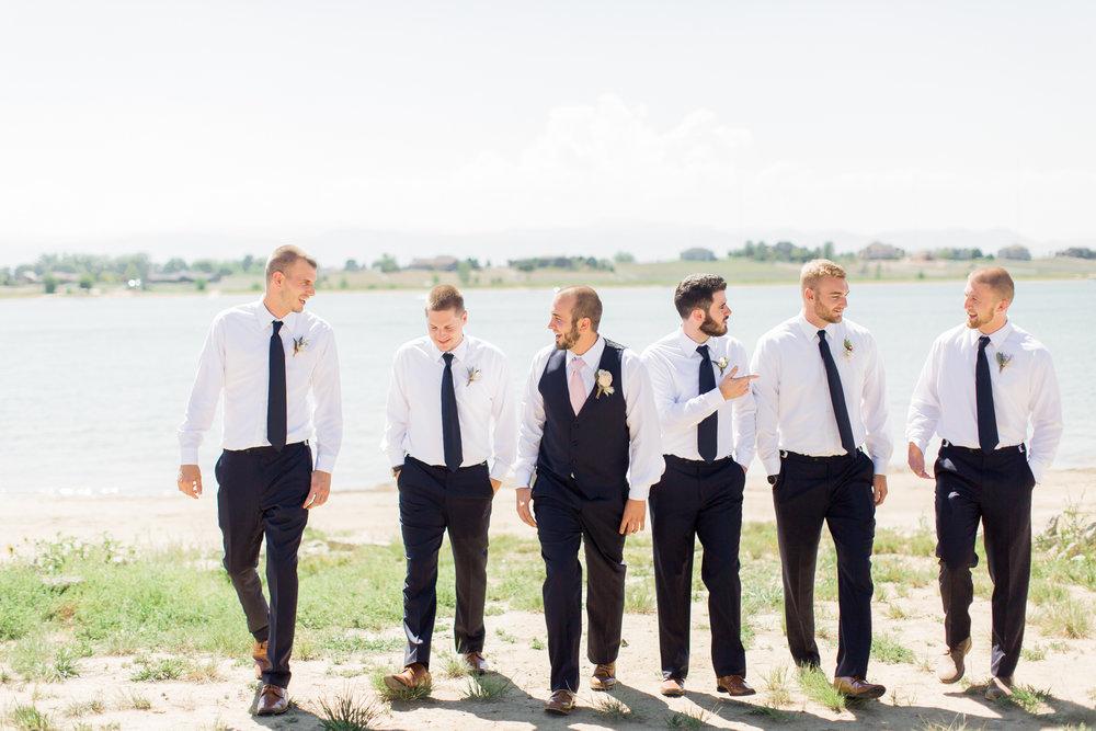 groom with groomsmen colorado wedding