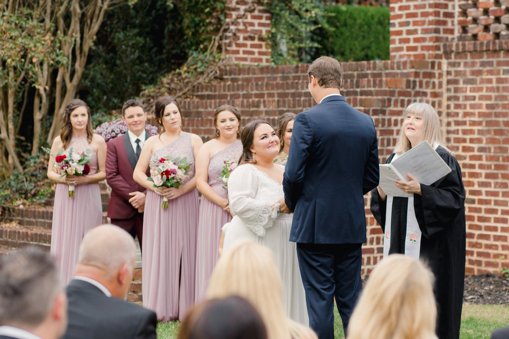 wedding ceremony at johnson carriage house