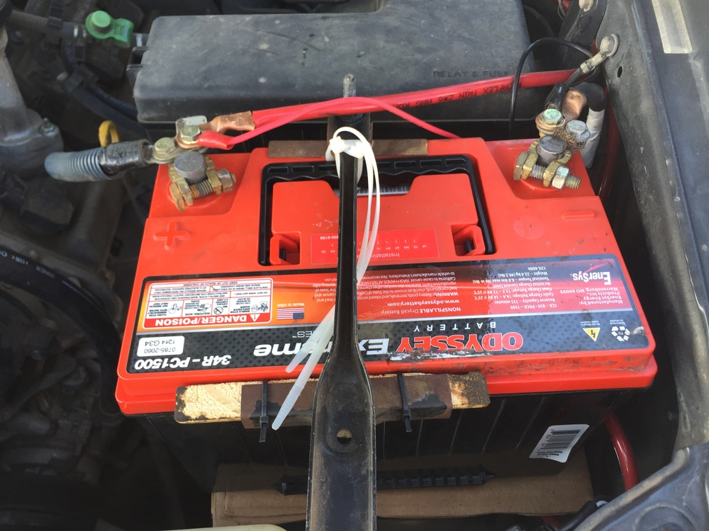 Shifting battery saved by zip ties.