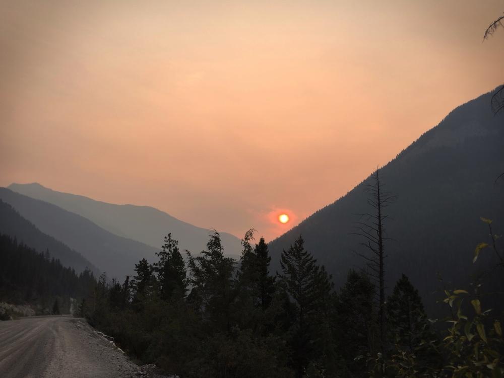 Smoke haze south of Banff.