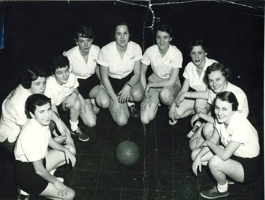 "Carolaine (nickname ""Elvis""), Girls Intramural Basketball, Freshman, Wayne Memorial High School, 1956"