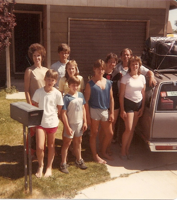 Our families got together in 1984 in Reno. Carolaine, Ed, Elaine, and Gregg are on the left. Me and my husband Gene and our kids (L-R) Shane, Paul, and Cherish are on the right.
