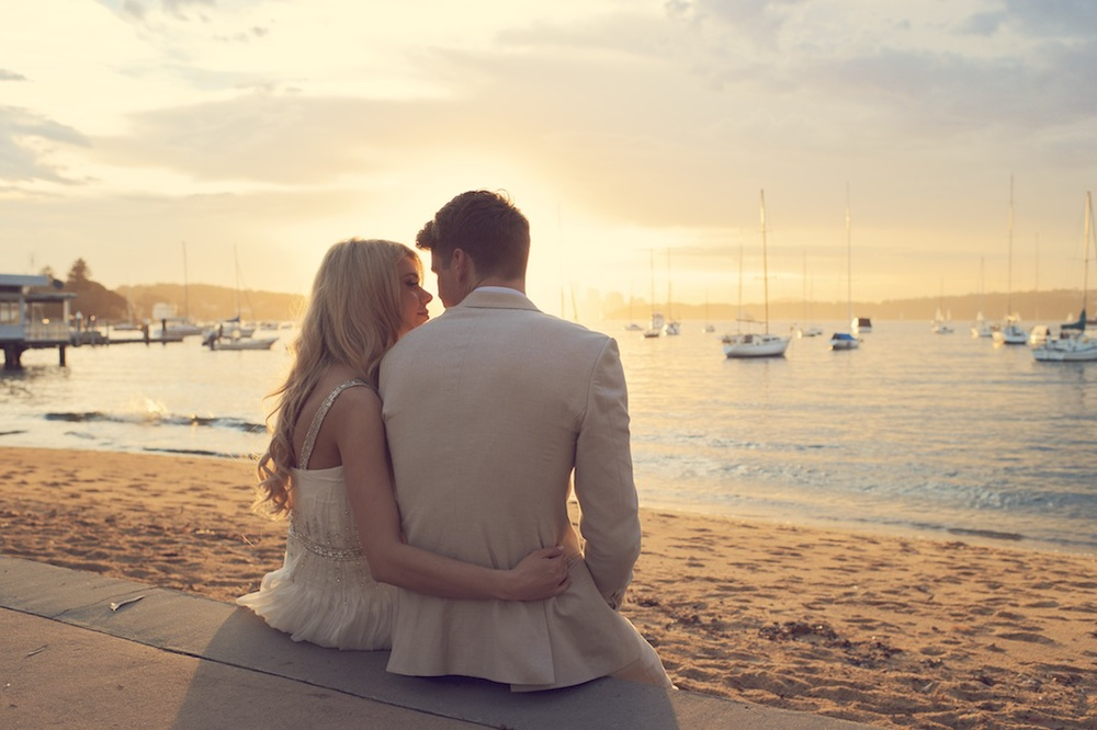 Wedding photo of couple at watsons bay by sydney wedding photographer fusion photography
