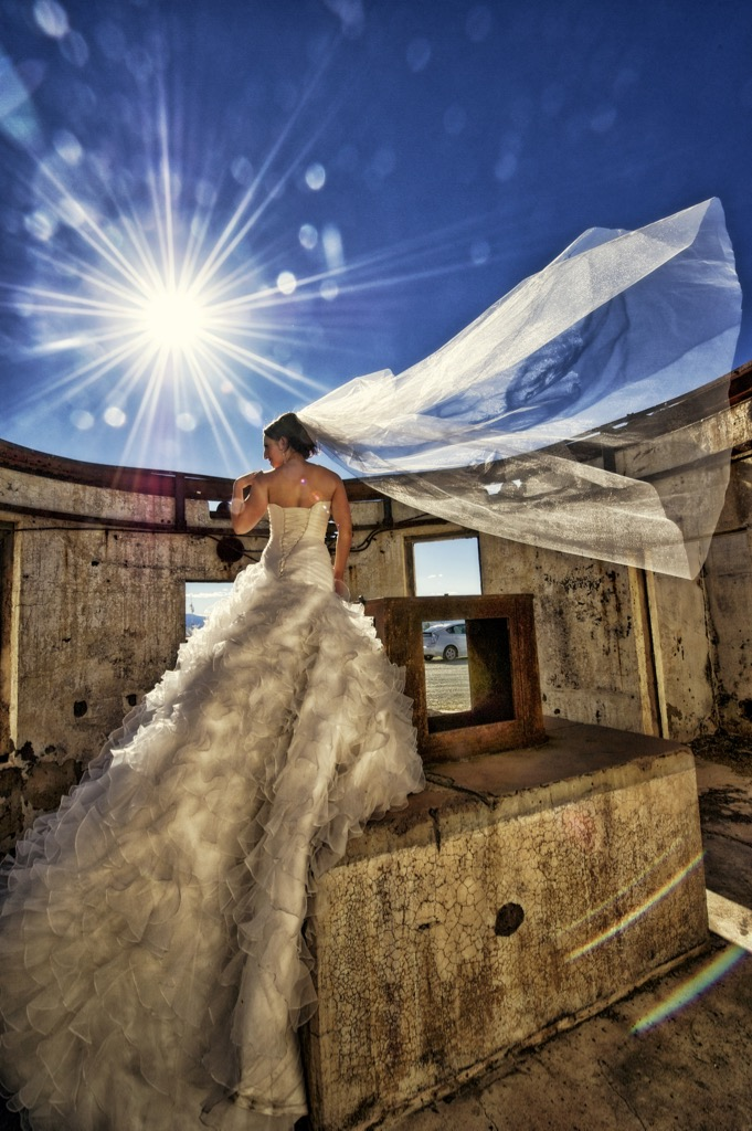 Wedding Photo Of A Bride On Mount Stromlo By Canberra Photographer Fusion Photography