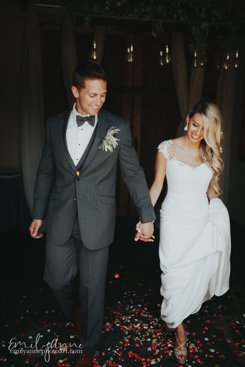 cutest wedding couple in Nashville wedding exit with petals at The Foundry in Nashville - Emily Anne Photo Art