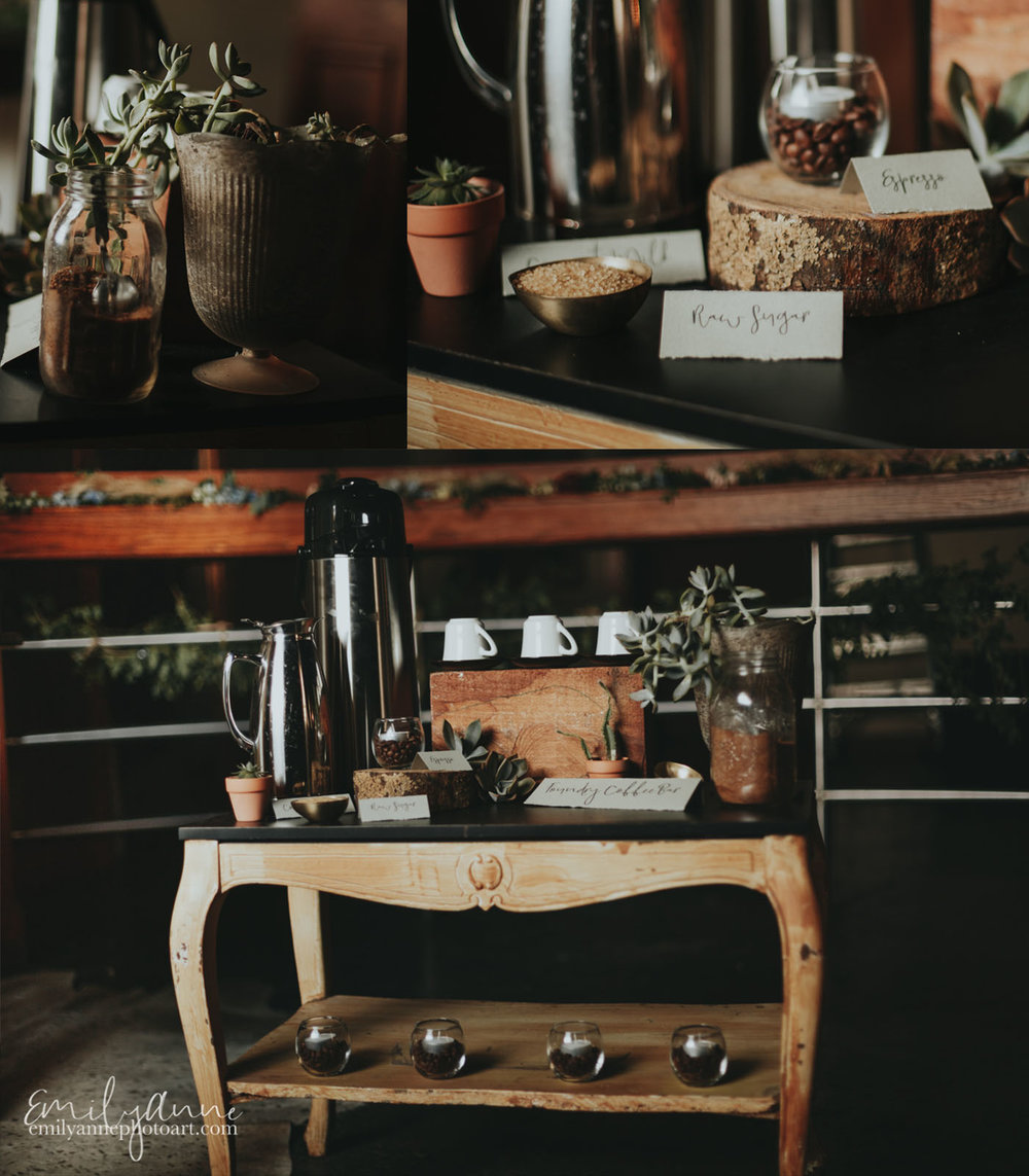 Best Coffee Bar in Nashville TN FOUNDRY COFFEE BAR Best Venue Foundry Events - Wedding Coffee Bar Inspiration/Hipster/retro urban with gorgeous succulents and coffee beans by Nashville wedding and portrait photographer Emily anne