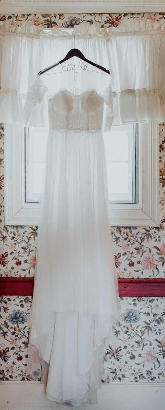 beautiful wedding dress at buchanan log house