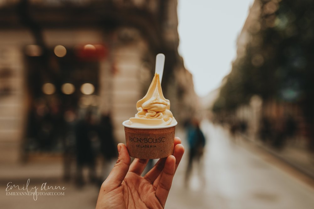best ice cream shot by top Barcelona Spain and Nashville Europe Wedding and Portrait Photographer