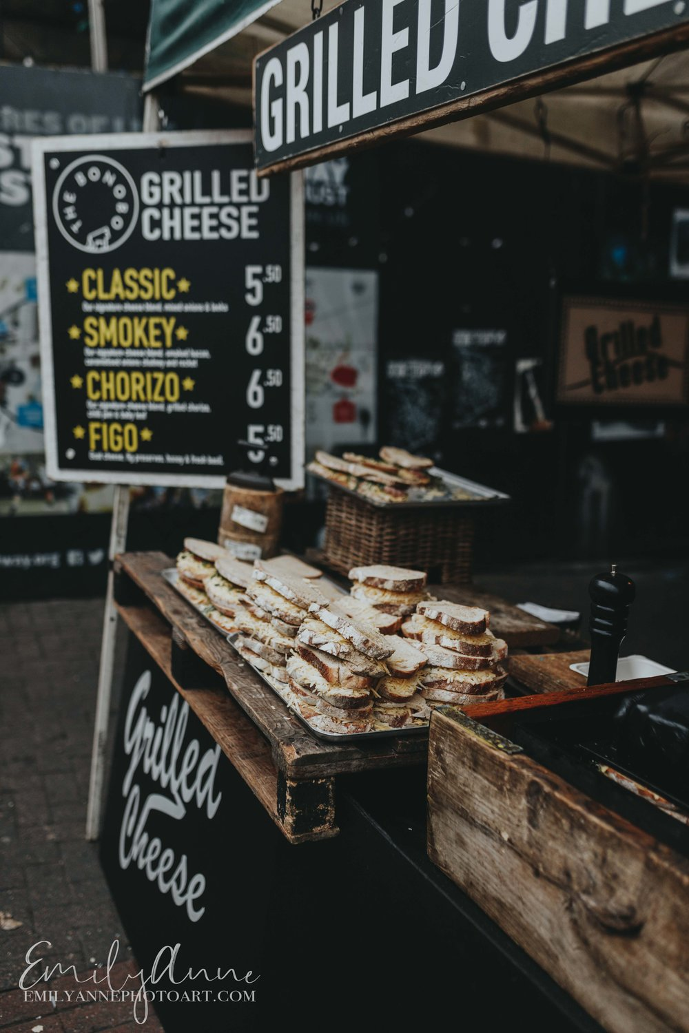 grilled cheese sandwiches on Portobello road market UK London