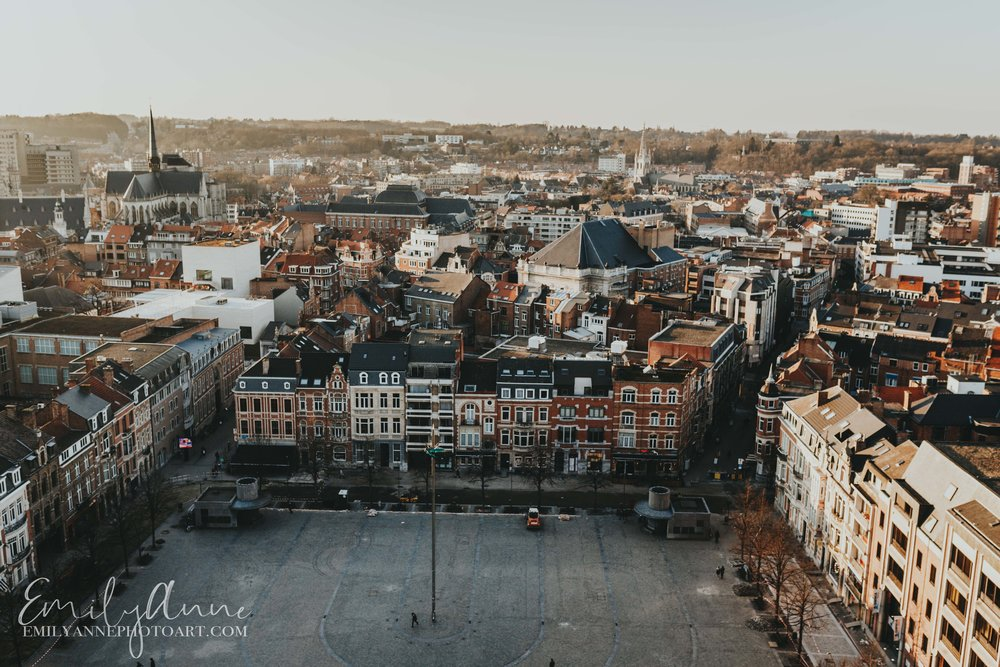 top viewpoint Leuven Belgium from the library Central Library of Catholic University of Leuven by European Belgium Wedding Portrait photogrpaher Emily Anne