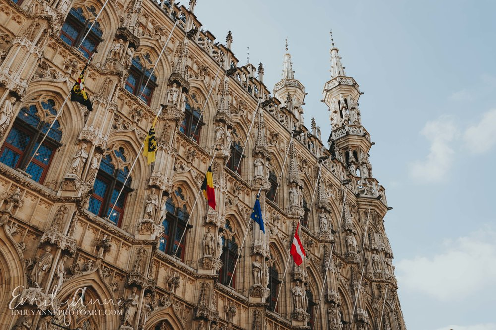 historical Leuven town hall top architecture is stunningly beautiful in Leuven by top Leuven wedding photographer Emily Anne Photo Art (photography) outside royal courthouse