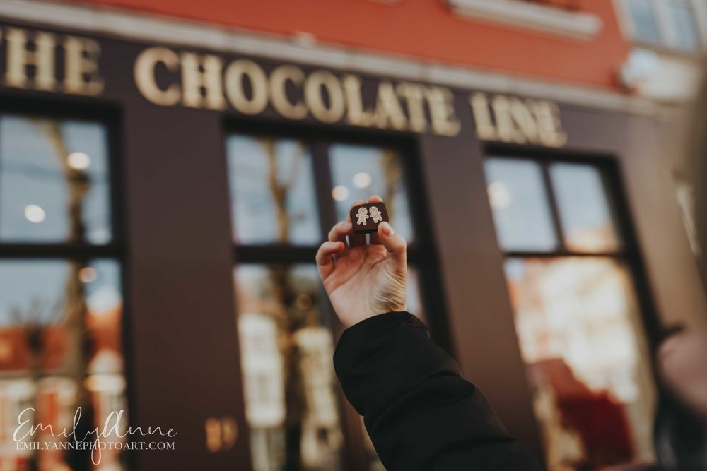 the chocolate line by famous chef in Bruges shot by Barcelona Belgium Nashville Leuven Wedding Portrait Lifestyle Photographer Emily Anne