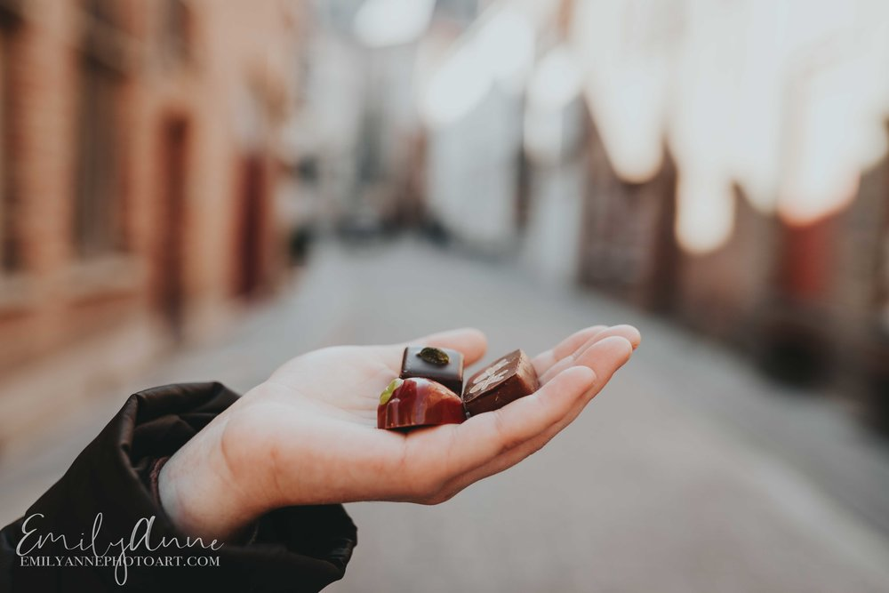 the chocolate line portraits with chocolate in bruges Belgium the chocolate line by famous chef in Bruges shot by Barcelona Belgium Nashville Leuven Wedding Portrait Lifestyle Photographer Emily Anne