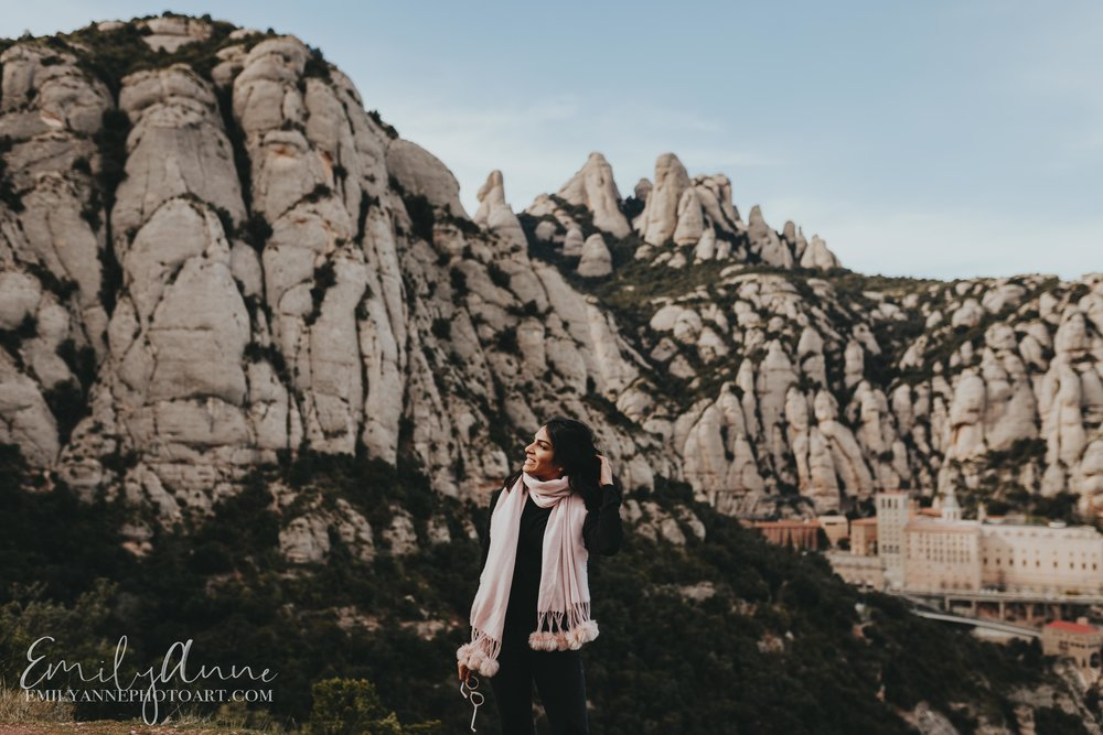 best Barcelona Nashville Vanderbilt elopement wedding  photographer shots of Montserrat mountainous range peaks -gorgeous views