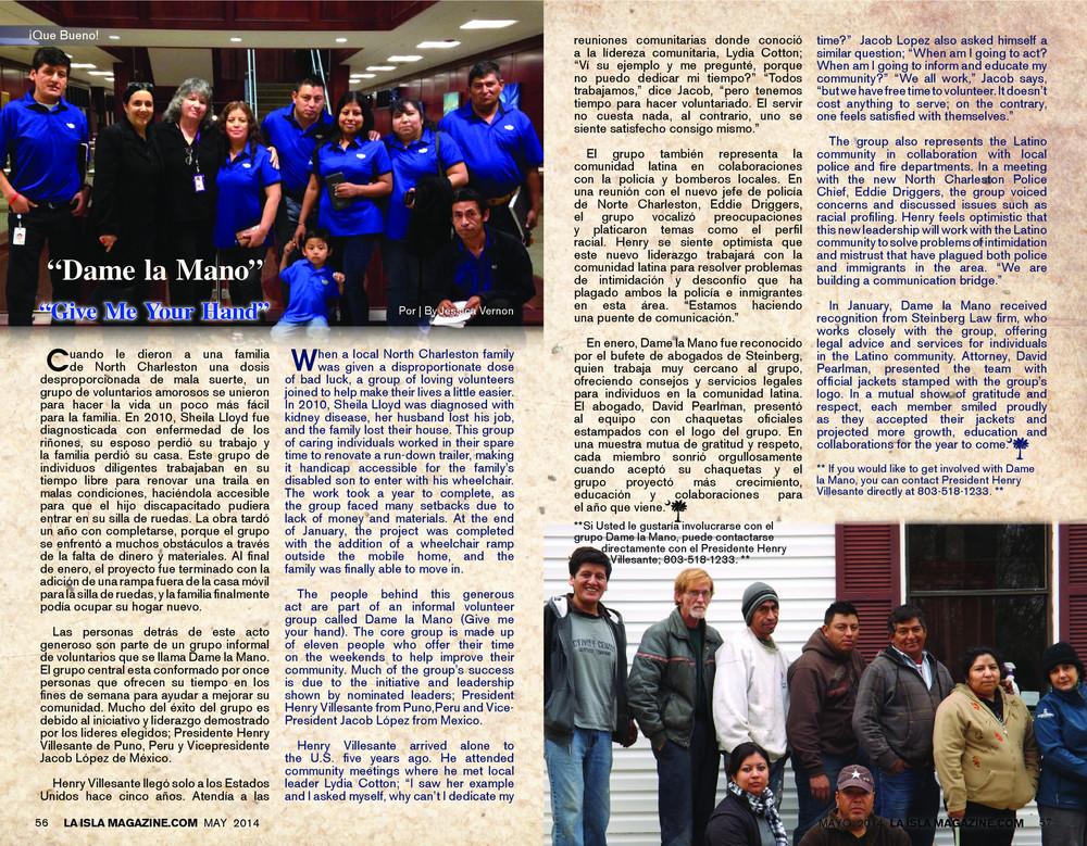 Mayo, 2014: Dame la Mano