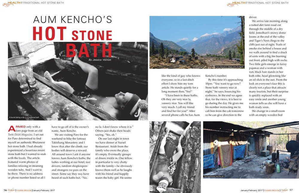 Jan. 2017: Aum Kencho's Hot Stone Bath
