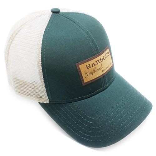 0c9fd164c Suede patch trucker cap - green & tan